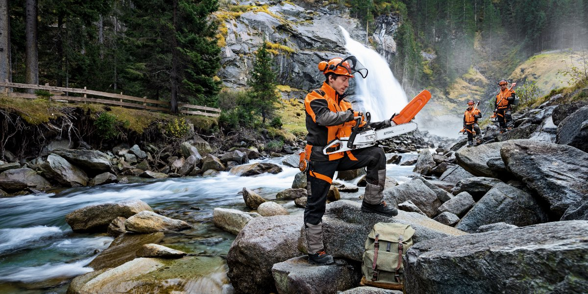 Stihl user with chainsaw